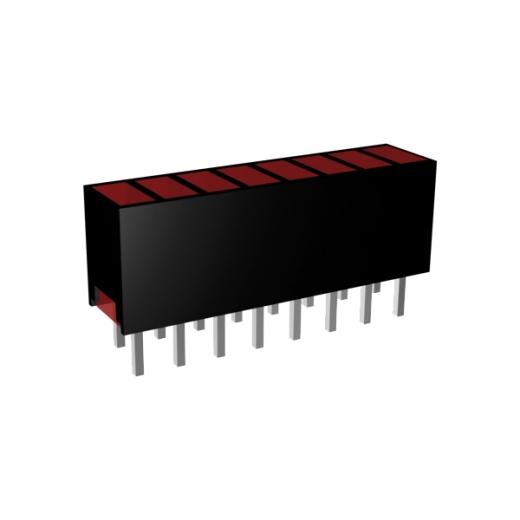 Mini-Line LED-Zeile 8-fach, Gehäuse schwarz, 4x2mm-LEDs, 9,0mm Höhe, Rot