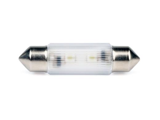 LED-Soffitten Lampe Ø11x43mm (24/28 V) warmweiss