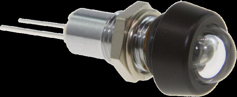 Infrarot-LED 850nm im Gehäuse mit Glaskuppe und schwarzverchromter Kappe, IP67