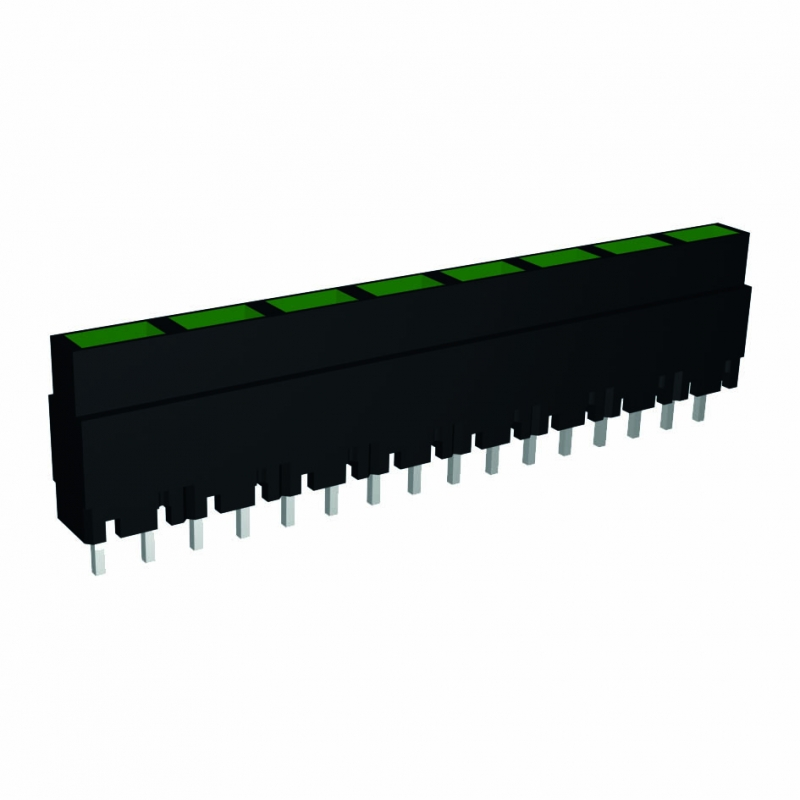 Mini-Line LED-Zeile 4-fach, Gehäuse schwarz, 4x2mm-LEDs, 9,0mm Höhe, rot