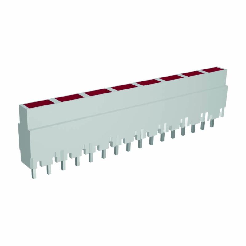 Mini-Line LED-Zeile 8-fach, Gehäuse weiss, 4x2mm-LEDs, 9,0mm Höhe