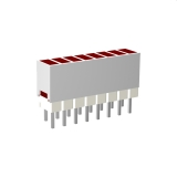 Mini-Line LED-Zeile 10-fach Gehäuse weiss, 4x2mm-LEDs, 9,0mm Höhe, Rot